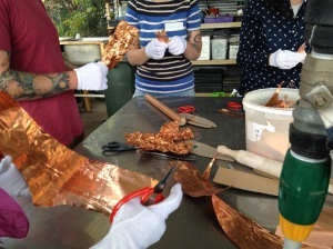 "Participants cut the copper shim into leaf shapes then ""crinkled"" them to create interesting random textures."