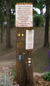 Re-purposed hardwood slabs have been used as interpretative signage