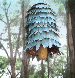 The copper-clad Bee Bell holds a clay cob nesting substrate.