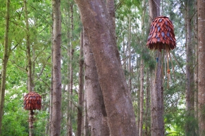 Sculptural Bells with hanging native bee habitat of bamboo and Xanthorrhoea (Grass tree)
